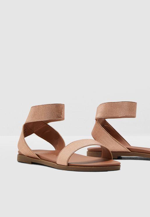 cee5e842406 Wide Fit Jaroelstc Flat Sandal - Rosegold