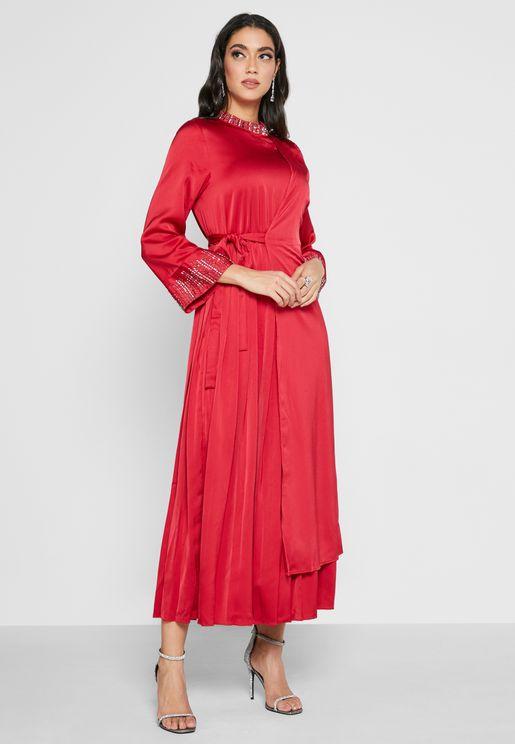 Flute Sleeve Pleated Dress