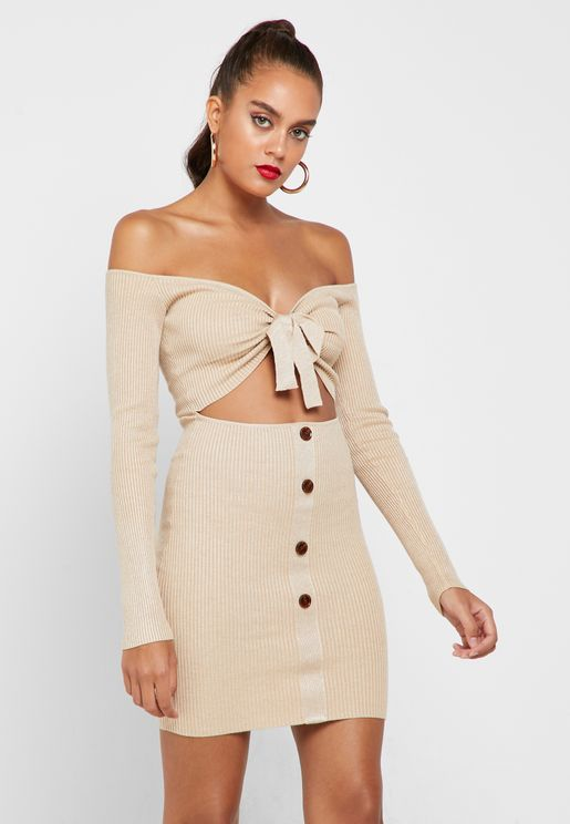 Front Tie Cut-Out Bardot Dress