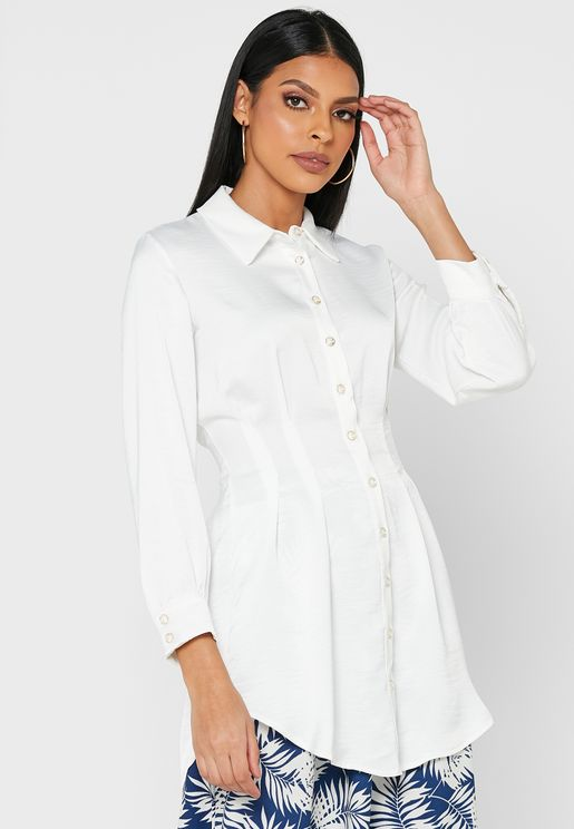 Collared Shirt With Sinched-In Waist