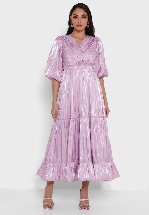 Puff Sleeve Surplice Neck Dress