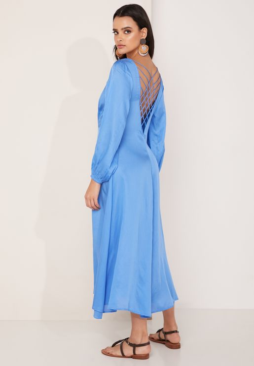 Later Days Front Slit Puff Sleeve Dress