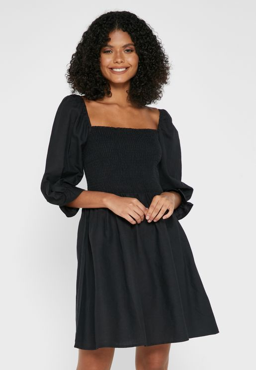 Textured Shirred Dress