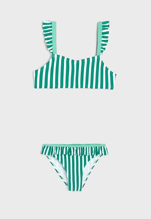 Youth Striped Bikini Set