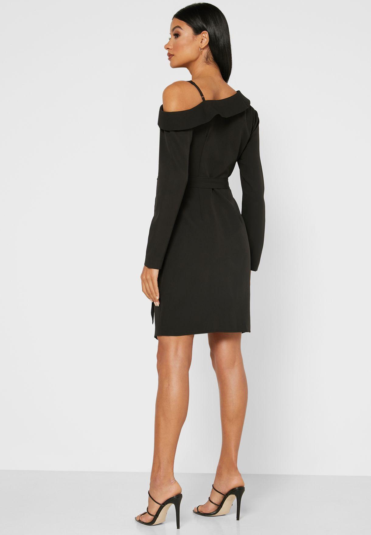 One Cold Shoulder Wrap Front Mini Dress