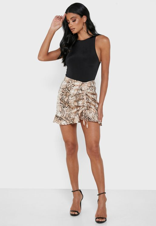 Snake Print Ruched Skirt