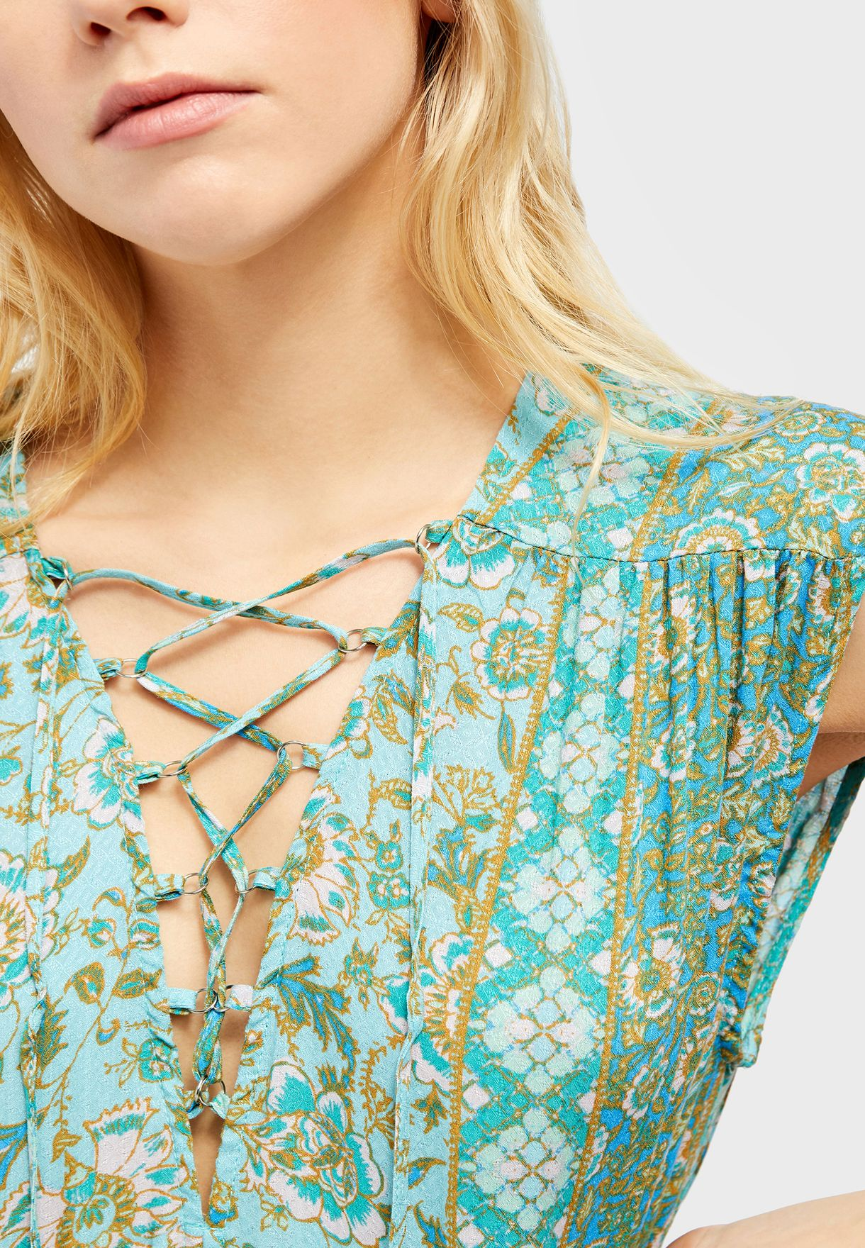 Hanalei Bay Lace Up Detail Printed Dress