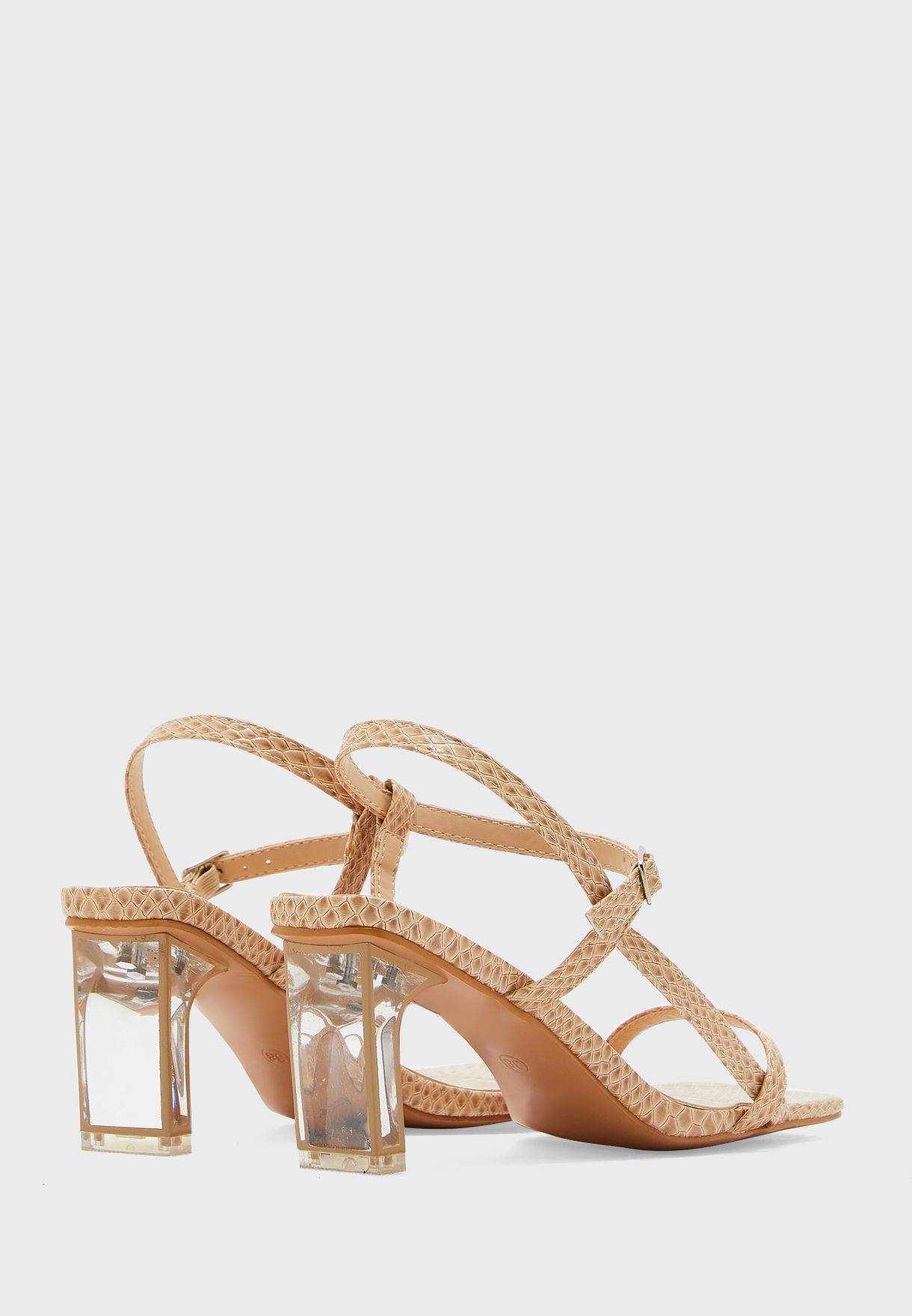 Square Toe Side Strap Sandal With Persplex Heel