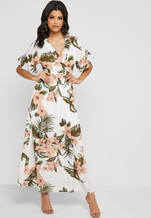 فستان ماكسي بطبعات