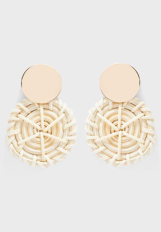 White And Gold Crochet Earrings