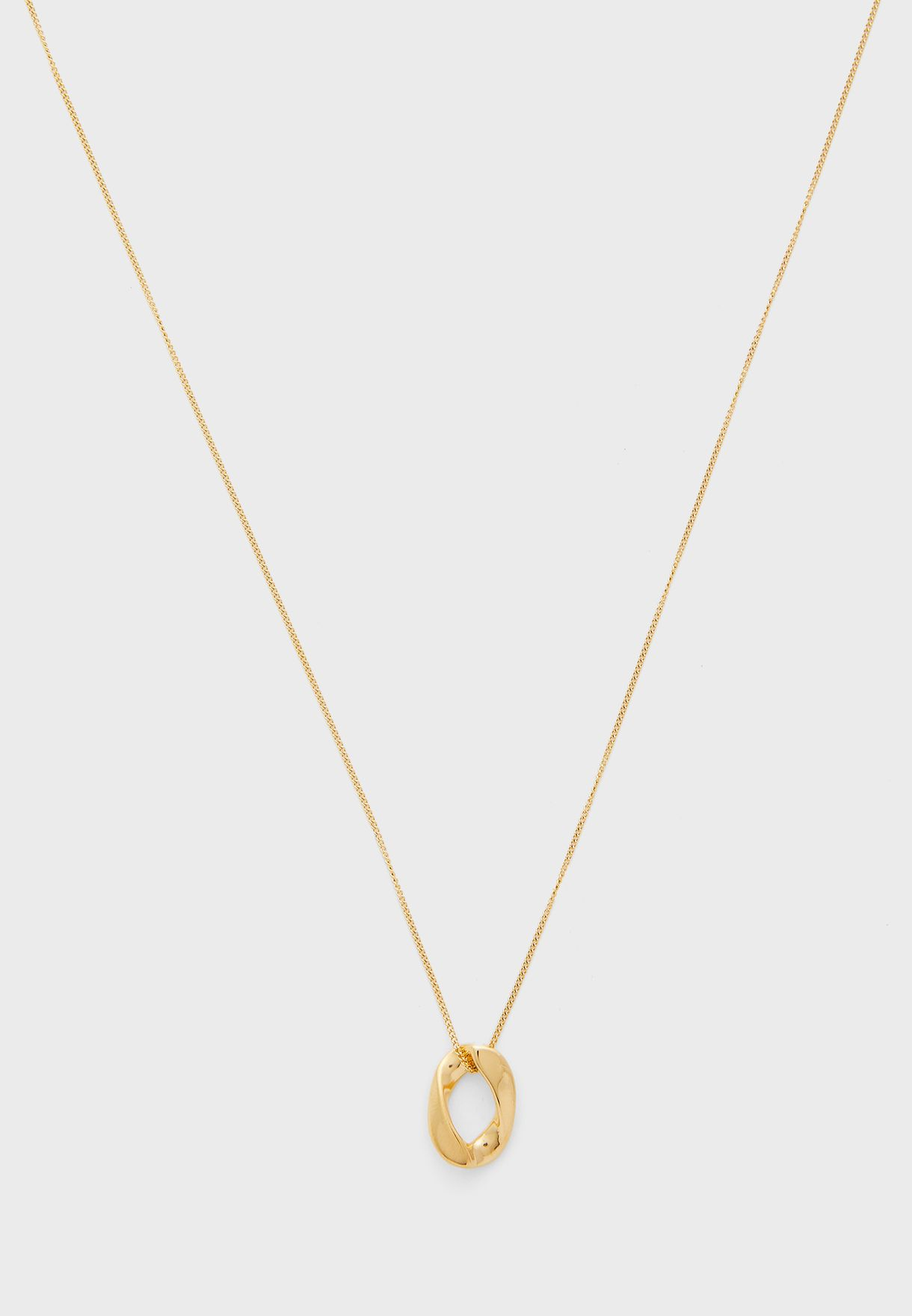 Chunky Circle Pendent Long Necklace