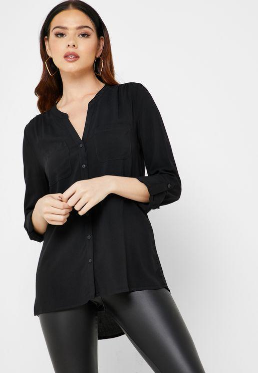 Front Pocket Split Neck Shirt