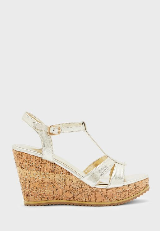 T-Bar Wedge Low Heel Sandals