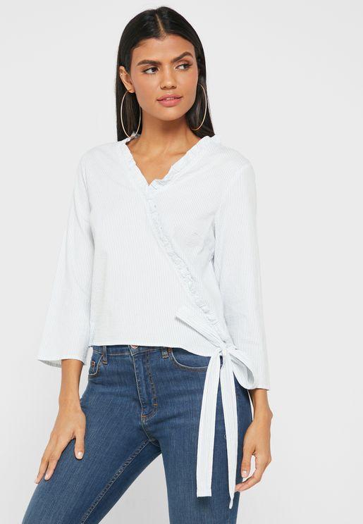 Wide Sleeve Wrap Top