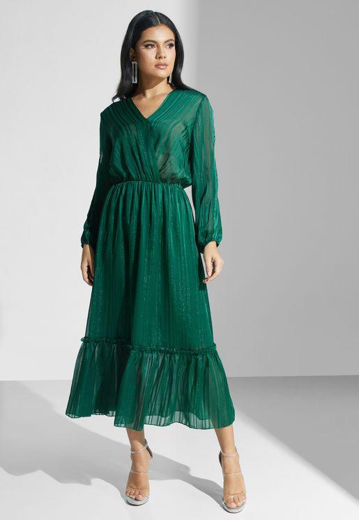 Plisse Wrap Front Midi Dress