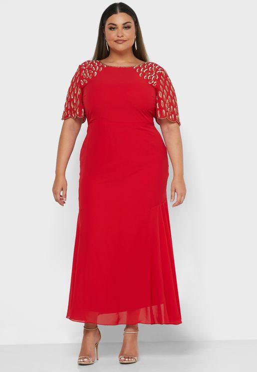 Embellished Sleeve Detail Dress
