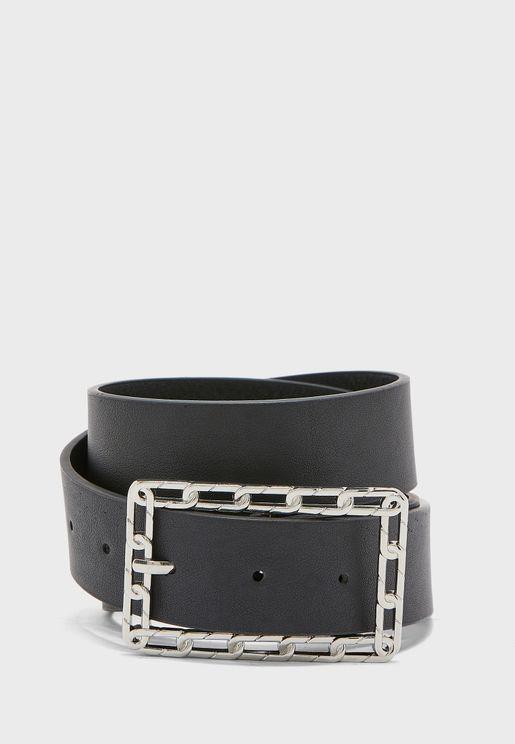 Silver Chain Detail Buckle Belt