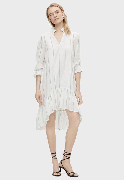 فستان مخطط بحافة غير متناظرة