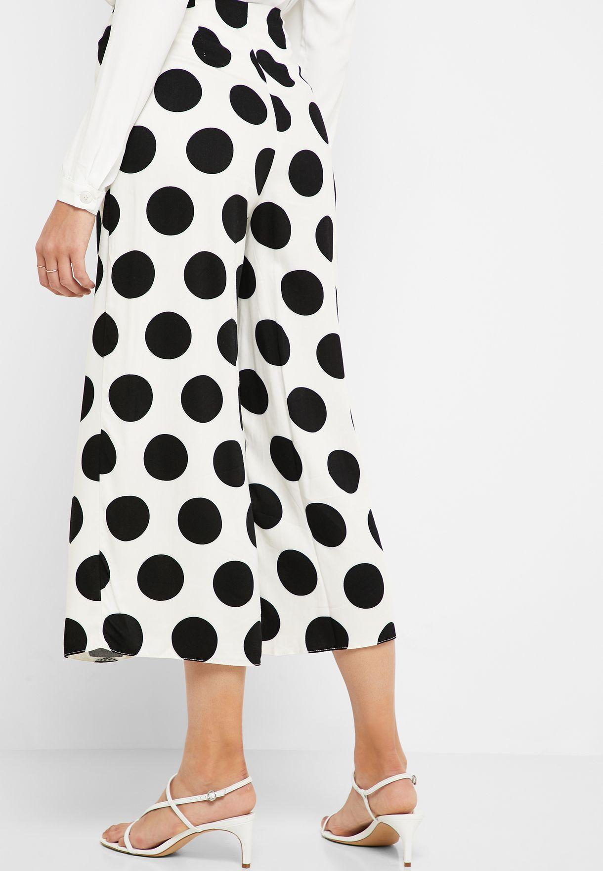 Polka Dot Tie Waist Wide Leg Pants