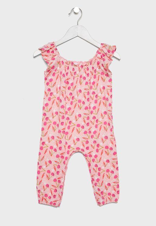 Infant Shirred Neck Printed Jumpsuit