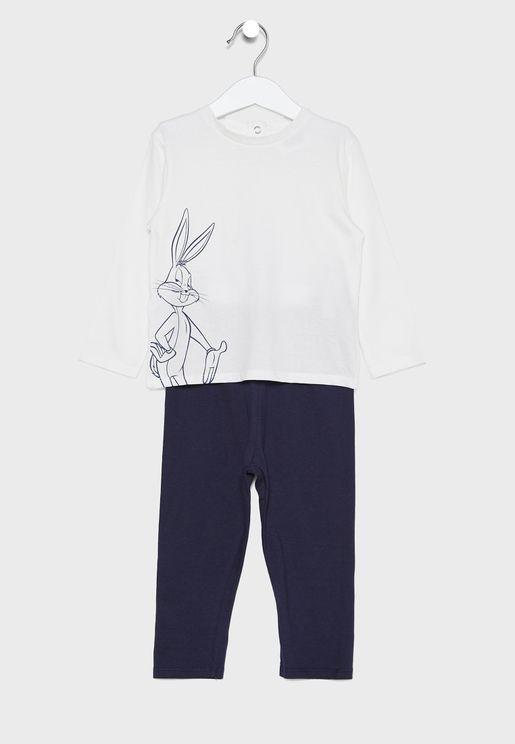 Kids Bunny Print Pyjama Set