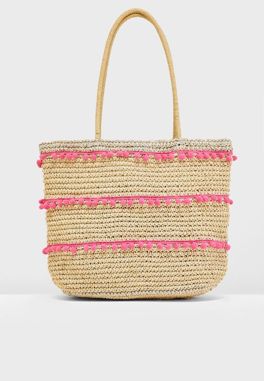 Pom Trim Beach Shopper
