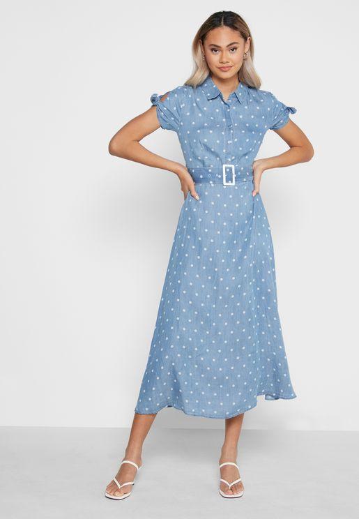 فستان ماكسي منقط