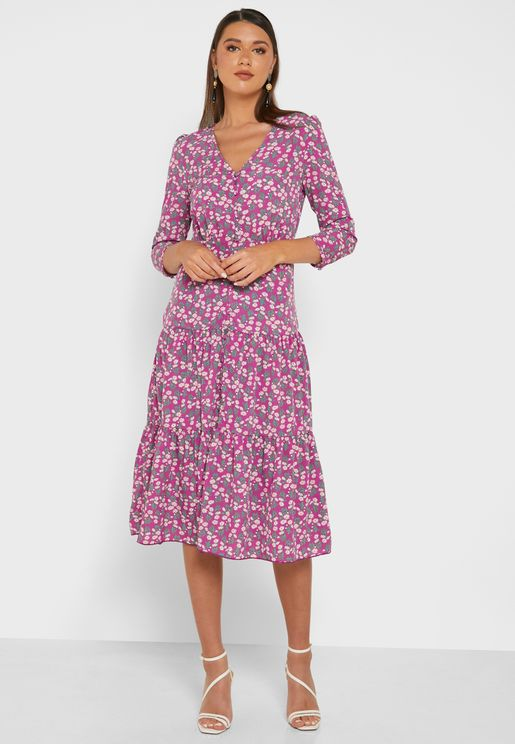 Printed Button Down Ruffle Hem Midi Dress