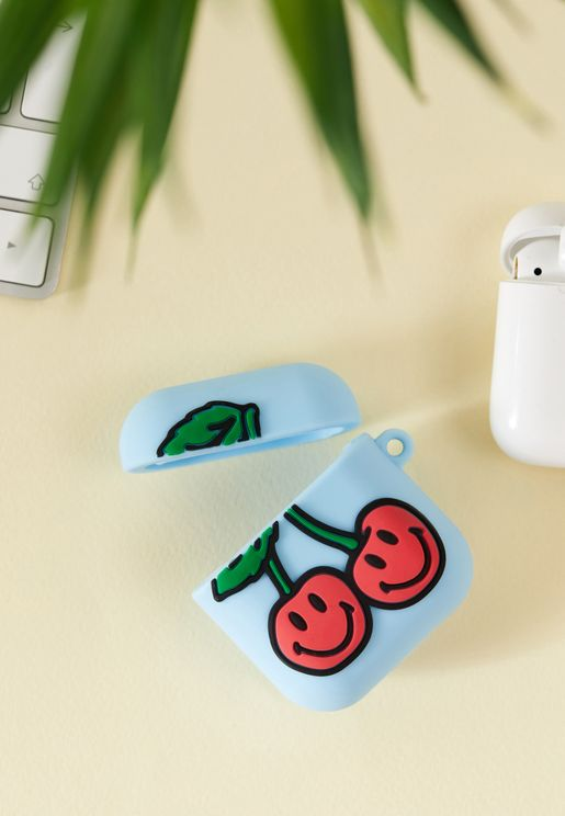 UO Exclusive Cherry Smiley AirPods Case
