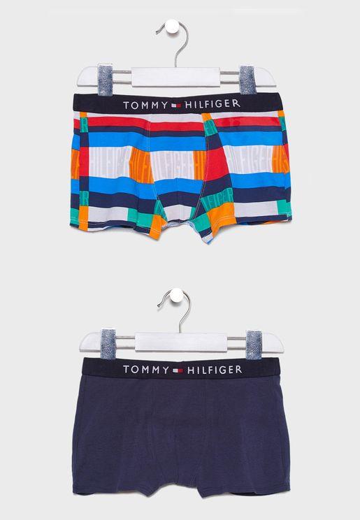Teen 2 Pack Printed Boxer Shorts