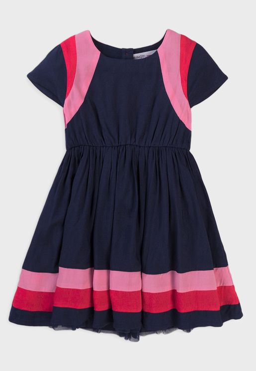 Kids Colour Block Cotton Dress