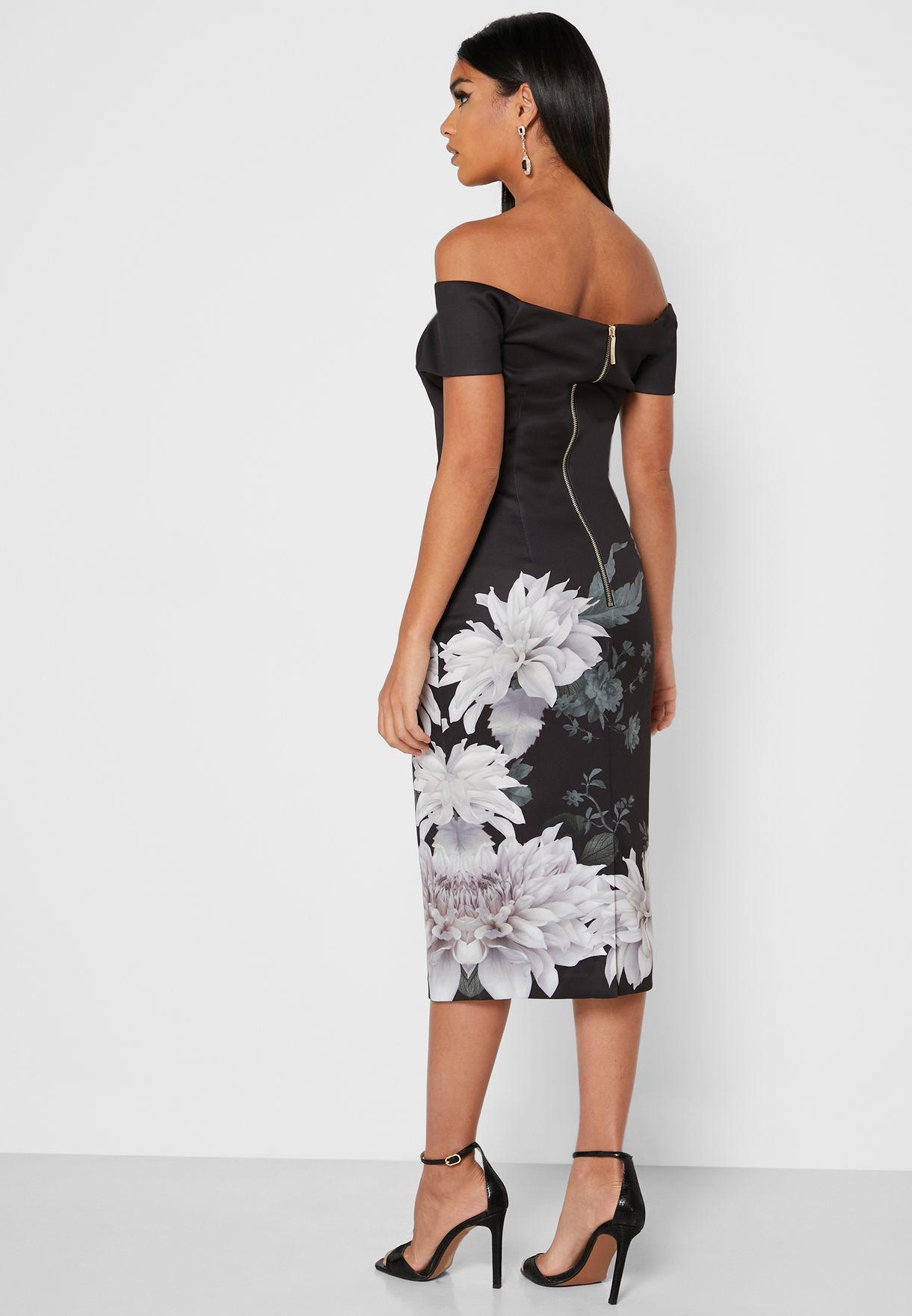 Peaony Bardot Printed Bodycon Dress