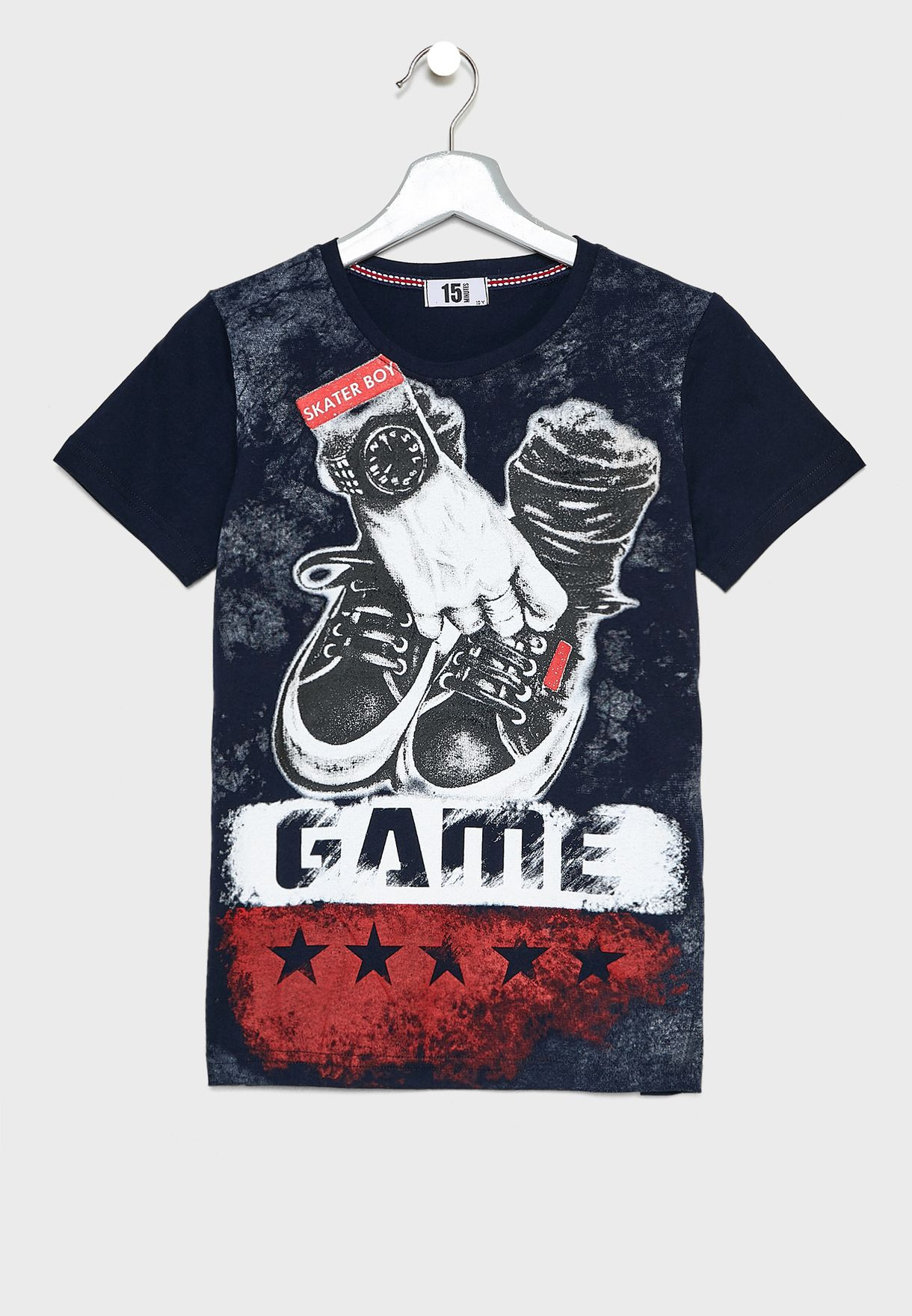 5034213b3 Shop Fifteen Minutes black Slogan Printed T-Shirt GD1321 for Kids in UAE -  12224AT62BEP