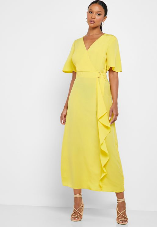 D-Ring Ruffle Detail Wrap Dress