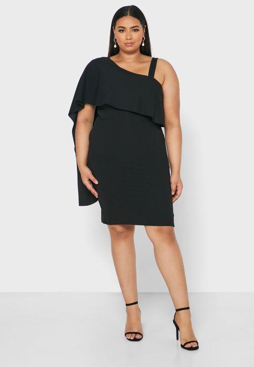 Asymmetric Dress With Frill Sleeve