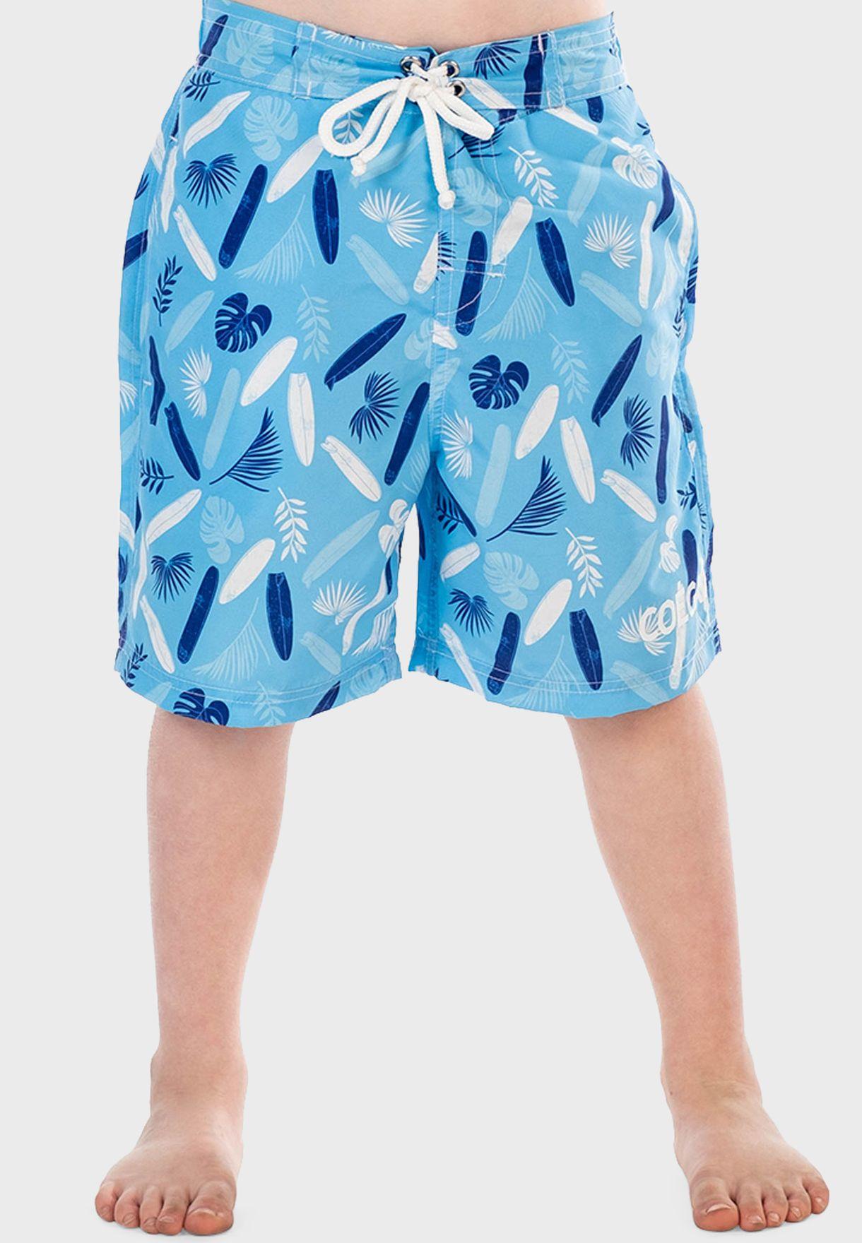 Youth Surfer Print Swim Shorts