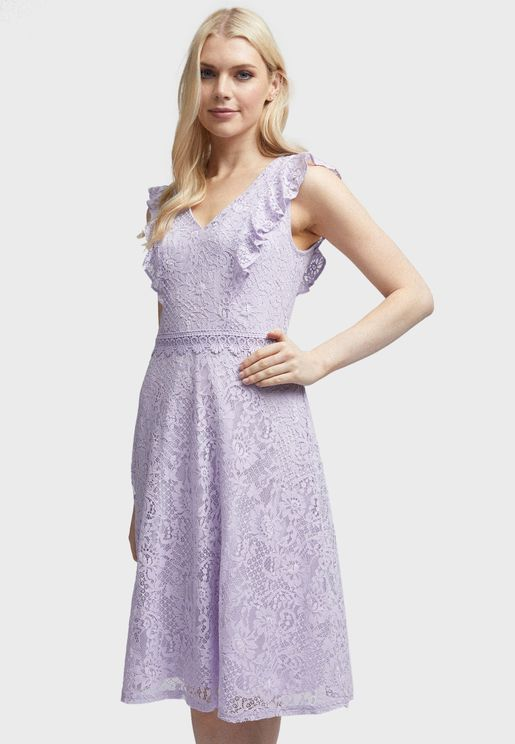 Ruffle Trim Lace Dress