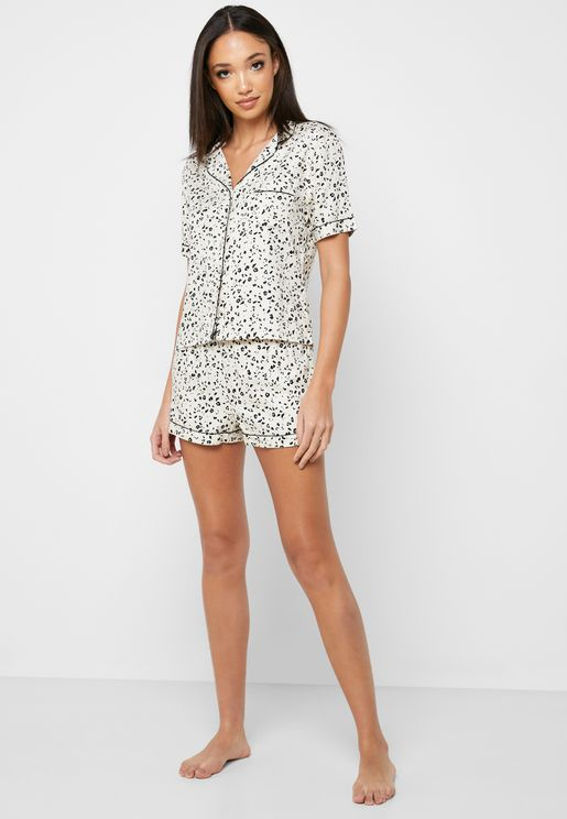 Printed Button Down Shirt & Shorts Set