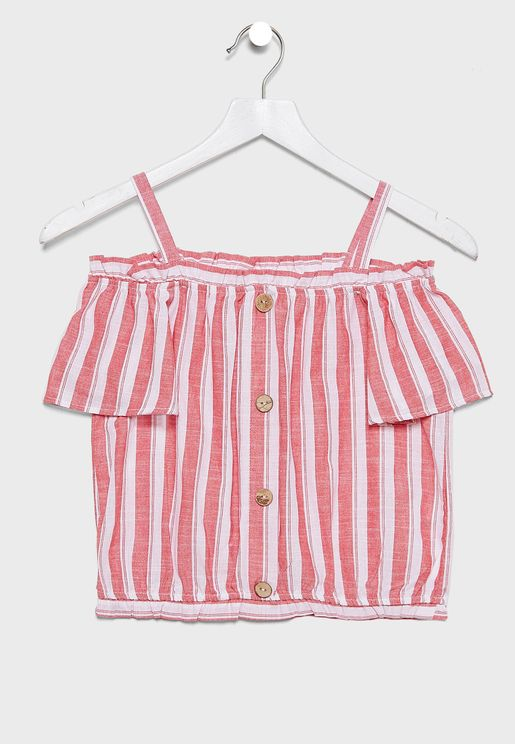 Kids Cold Shoulder Striped Top