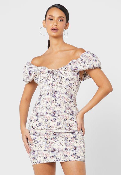 Puff Tie Front Mini Dress