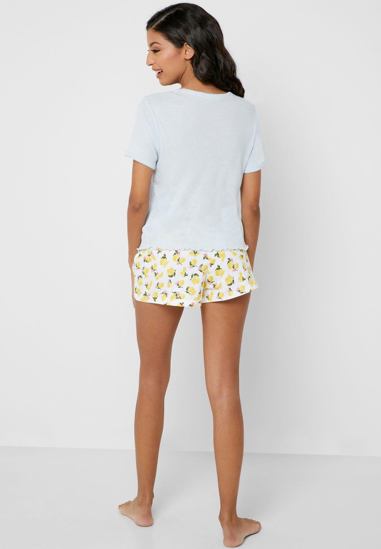 Lemon Print T-Shirt & Shorts Set