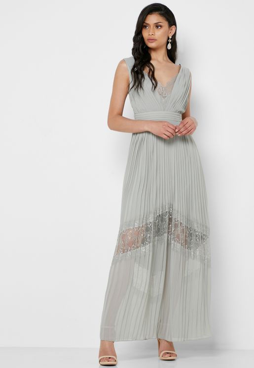 Lace Insert Pleated Dress