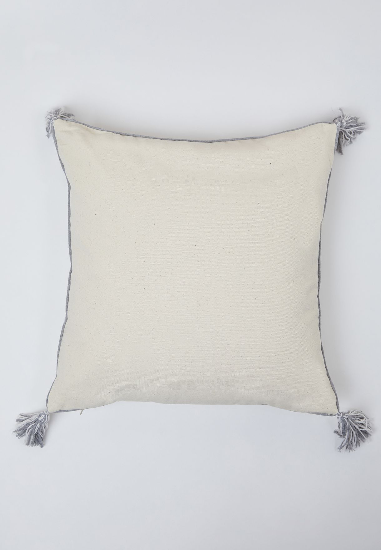 Grey Diamond Tassel Cushion