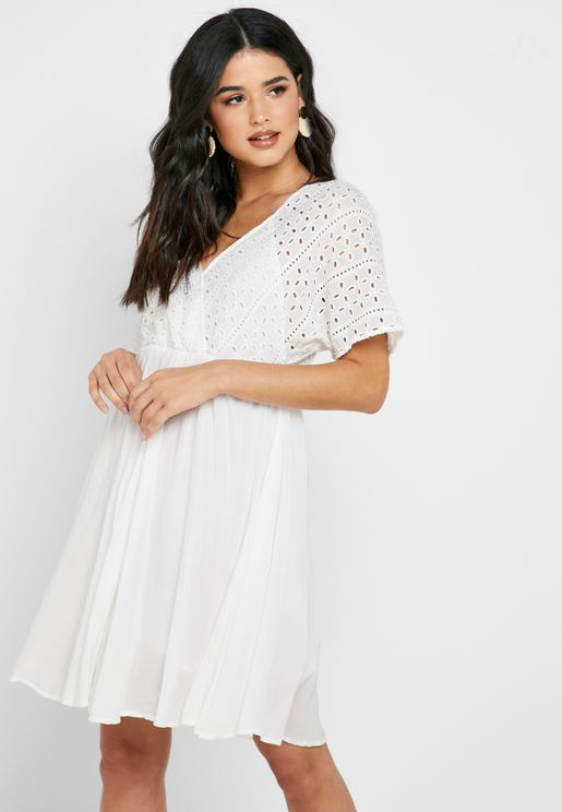 Broiderie Surplice Dress