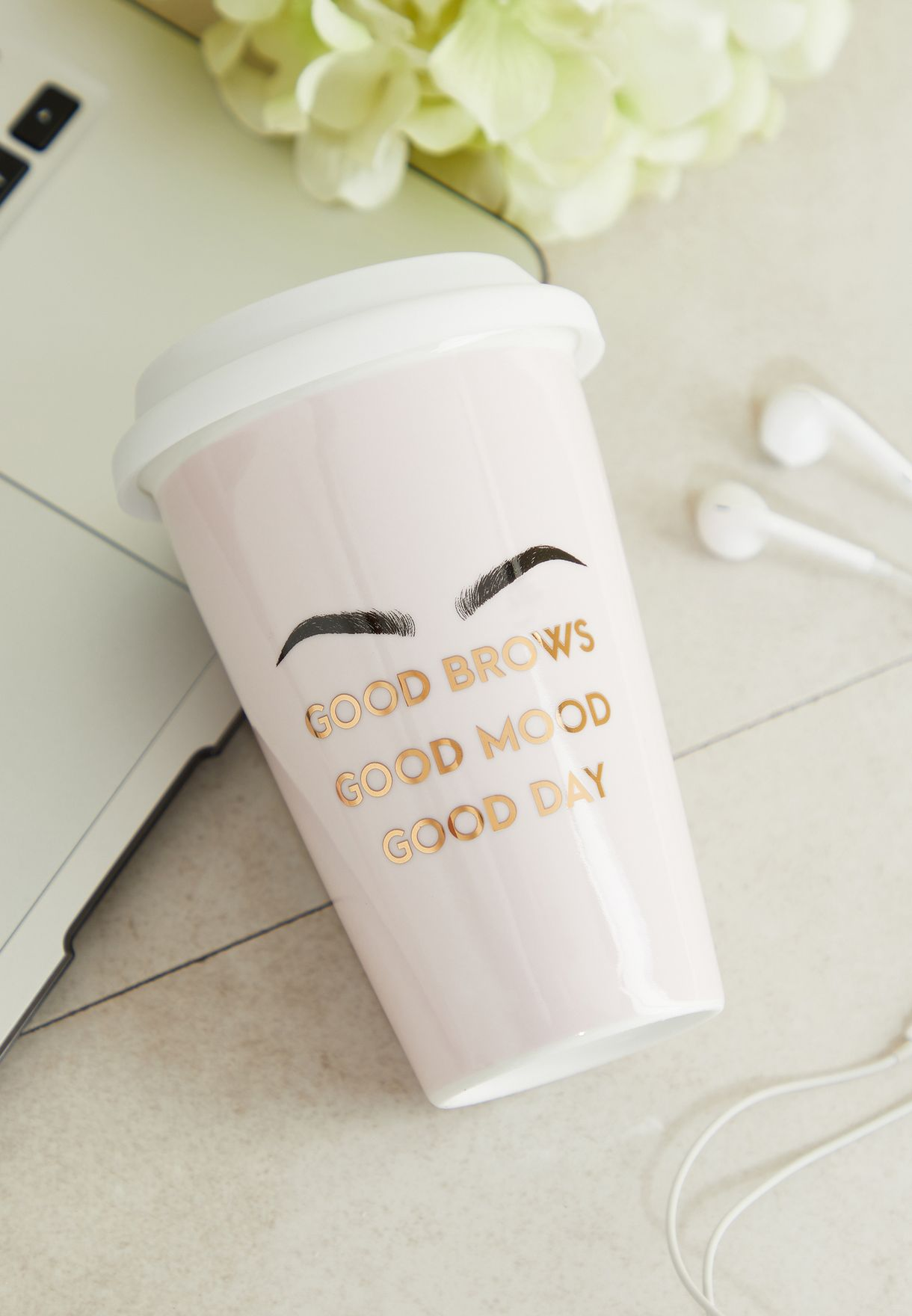 Good Brows Slogan Travel Flask