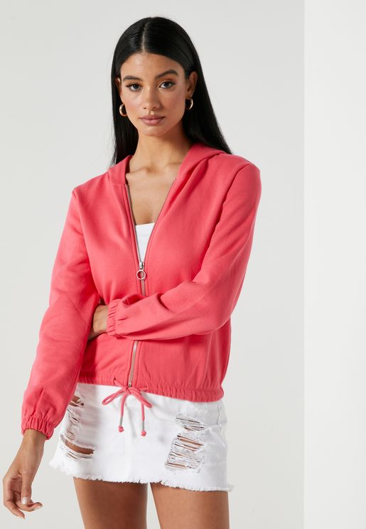 Drawstring Waist Zip Through Hoodie