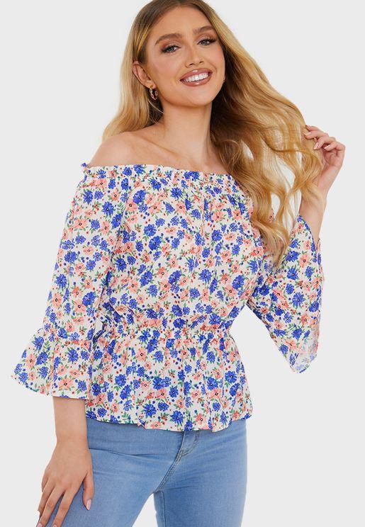 Floral Bardot Frill Top
