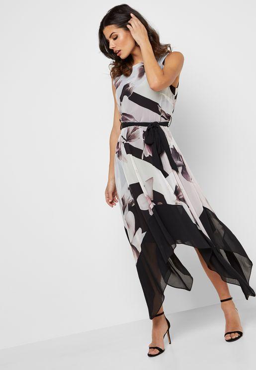 Floral Print Hanky Hem Dress