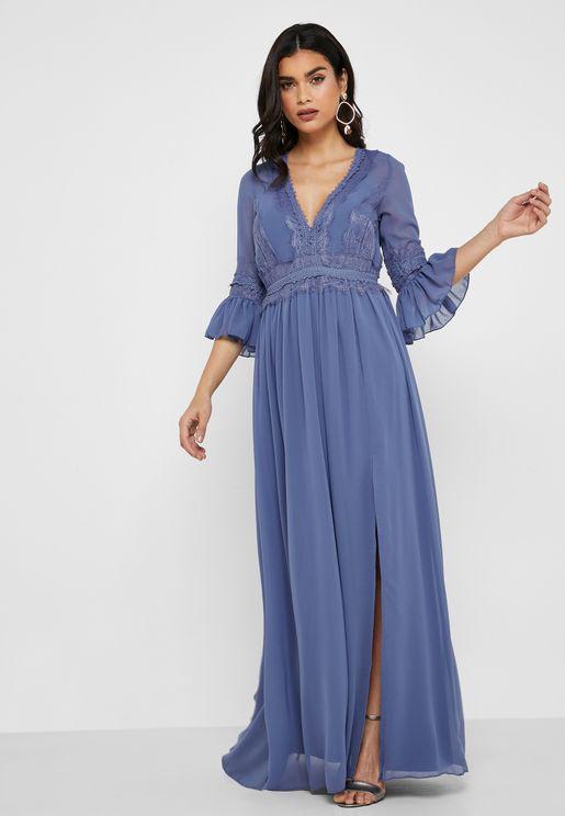 Lace Insert Front Slit Maxi Dress