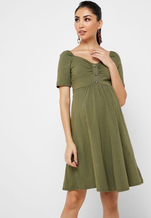 Sweetheart Neck Button Detail Dress